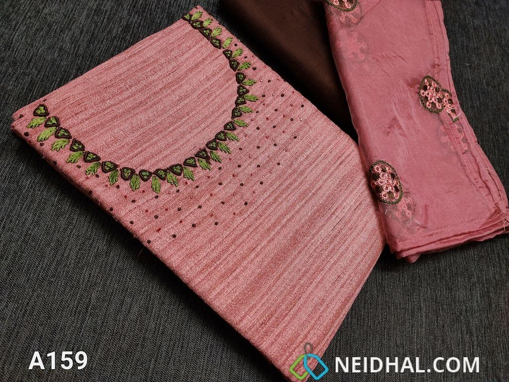CODE A159 :  Pink Semi tussar unstitched Salwar material(Coarse material requires lining) with cut bead work and thread work on yoke, Maroonish Red silk cotton bottom, Embroidery work on Organza dupatta