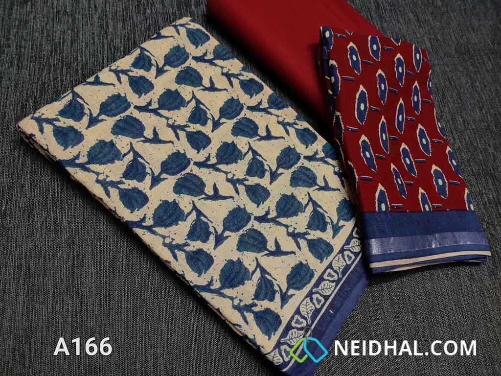 CODE A166 :  Block printed Linen Cotton unstitched salwar material, Maroon cotton bottom, Block printed linen Dupatta with Silver zari border(Taping needs to be stitched)