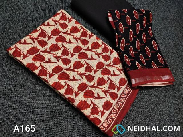CODE A165 :  Red Block printed Linen Cotton unstitched salwar material, Black cotton bottom, Block printed linen Dupatta with Silver zari border(Taping needs to be stitched)