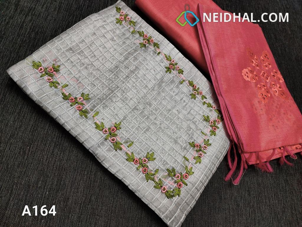CODE A164 :  Silver Grey Organza unstitched Salwar material(requires lining) with checked embroidery work, Thread and bead work on yoke, Pink silk cotton bottom, Silk cotton dupatta with cutwork and embroidery work