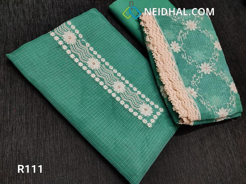 CODE R111 : Turquoise Green fancy kota unstitched Salwar material(requires lining), Thread embroidery work on yoke, lace and embroidery work on daman, Cotton bottom, Fancy kota dupatta with thread work all over and lace taping