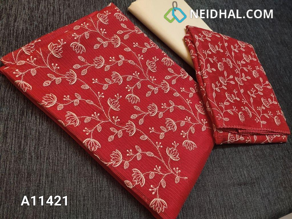 CODE A11421 : Premium Red Kota fabric unstitched salwar material(requires lining) with embroidery work on yoke, half white cotton bottom, embroidery work on kota fabric dupatta with tapings