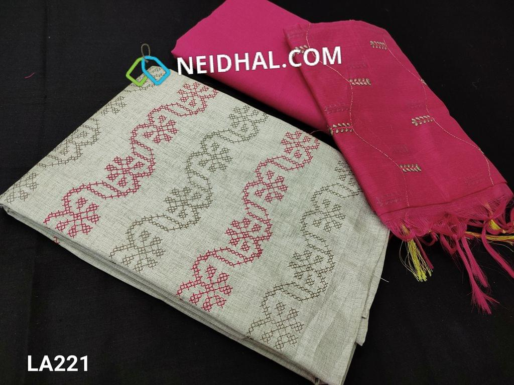 CODE LA221 :  Light Grey Silk Cotton UnStitched salwar material (coarse fabric requires lining) with cross stitch embroidery work on yoke, pink cotton bottom, cross stitch embroidery work on silk cotton dupatta with tapings