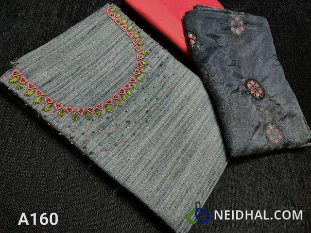 CODE A160 :  Dark Grey Semi tussar unstitched Salwar material(Coarse material requires lining) with cut bead work and thread work on yoke, Pink silk cotton bottom, Embroidery work on Organza dupatta