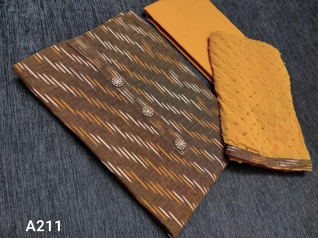 CODE A211 : Yellow Ikkat Handloom Cotton unstitched Salwar material with yoke buttons, contrast taping in daman, fennu greek Cotton bottom, French knot work on Chiffon dupatta with taping