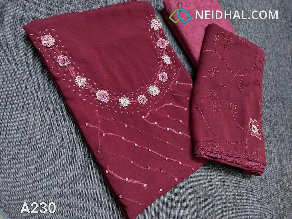 CODE A230 : Designer Light Maroon Georgette unstitched Salwar material(Shiny fancy silk cotton lining included) with French knot work, bead work, thread work on yoke, shiny fancy silk cotton bottom, Embroidery work on chiffon dupatta with lace tapings