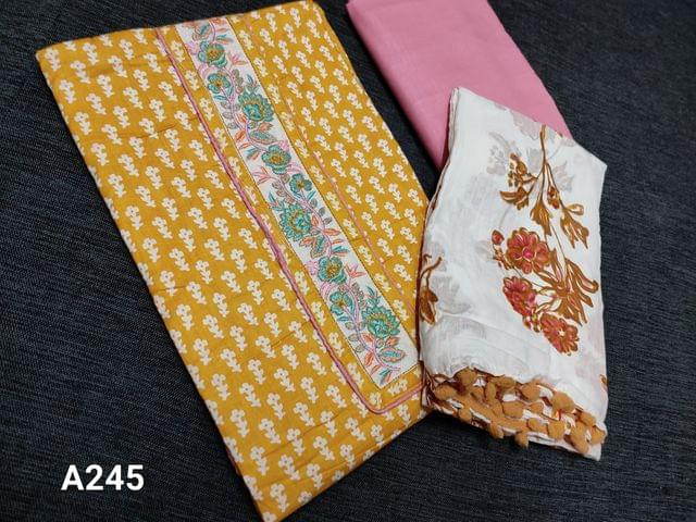 CODE A245 : Yellow Soft Cotton Unstitched Salwar material, Embroidery yoke, Daman patch, Pink Peach Soft and thin cotton bottom, Floral printed mul cotton dupatta with pom pom tapings