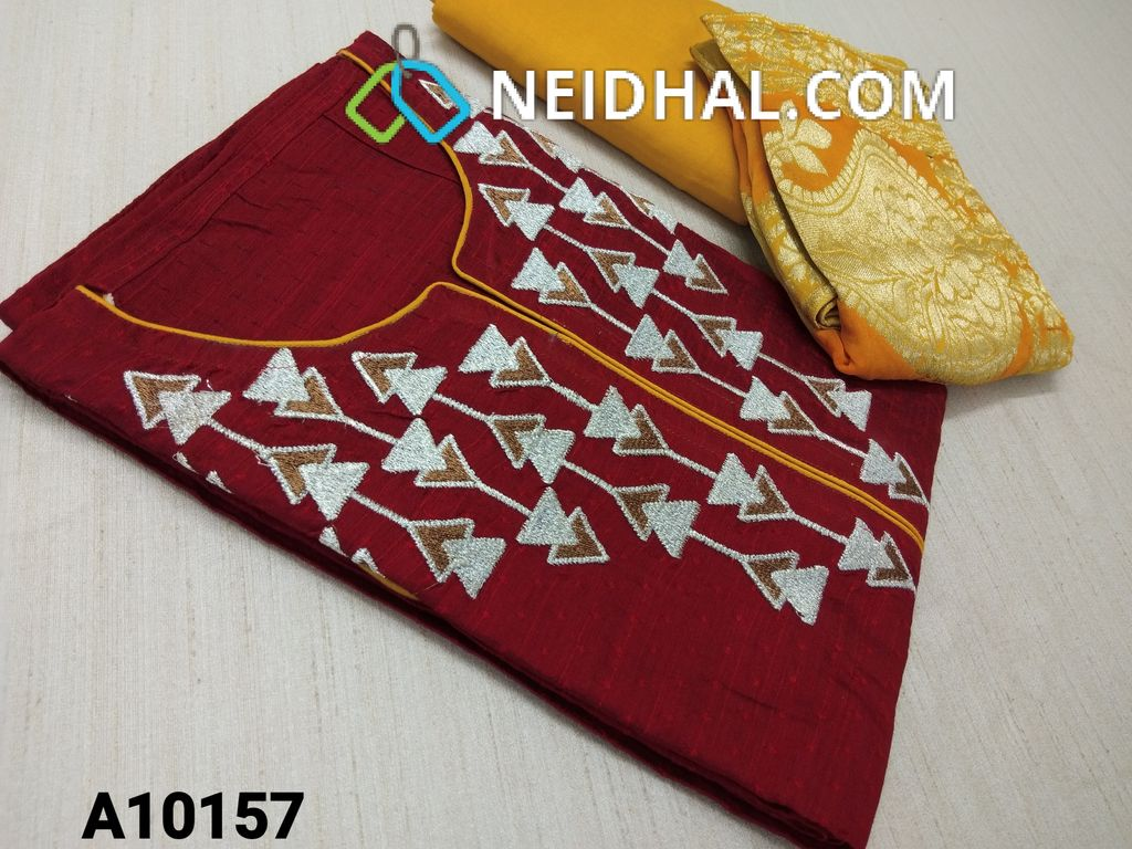 CODE A10157 : Premium Red Jaquard Silk Cotton unstitched salwar material(requires lining) wih embroidery work on yoke, yellow taffeta bottom, benaras weaving sikl cotton dupatta with tapings