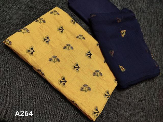 CODE A264 : Mehandi Green (with yellow tint) Silk Cotton Unstitched Salwar material(requires lining) with Embroidery work on front side, Blue cotton bottom, Embroidery work on chiffon dupatta with taping