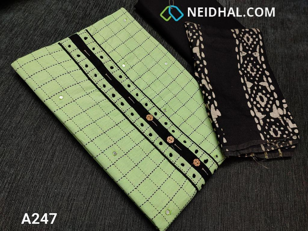 CODE A247 : Olive Green Spun soft Silk Cotton unstitched Salwar material with woven patterns, Faux mirror work on front side, French knot work and fancy buttons on yoke, Black cotton bottom, Batik prints on soft fancy silk cotton dupatta(taping needs to be stitched)