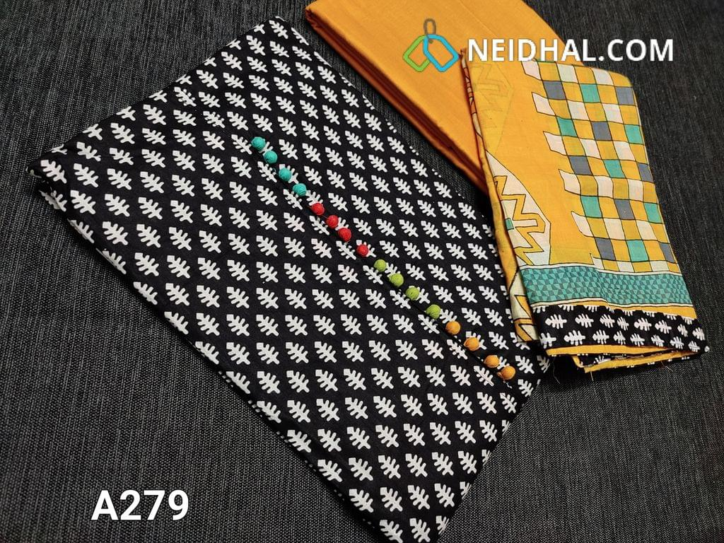 CODE A279 : Printed Black Soft Cotton Unstitched Salwar material(requires lining) with colorful potli buttons on yoke, Daman patch, Yellow cotton bottom, printed mul cotton dupatta with tapings