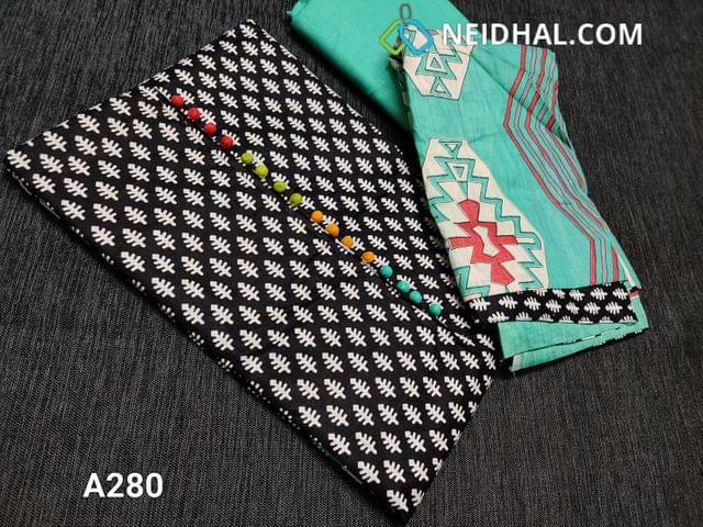 CODE A280 : Printed Black Soft Cotton Unstitched Salwar material(requires lining) with colorful potli buttons on yoke, Daman patch, Aqua Green cotton bottom, printed mul cotton dupatta with tapings