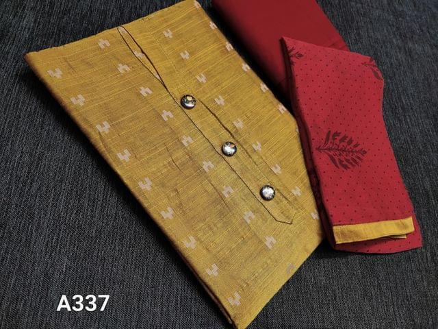 CODE A337 : Dark Yellow silk cotton unstitched Salwar material(requires lining) with woven patterns, Red cotton bottom, printed Red chiffon dupatta with taping