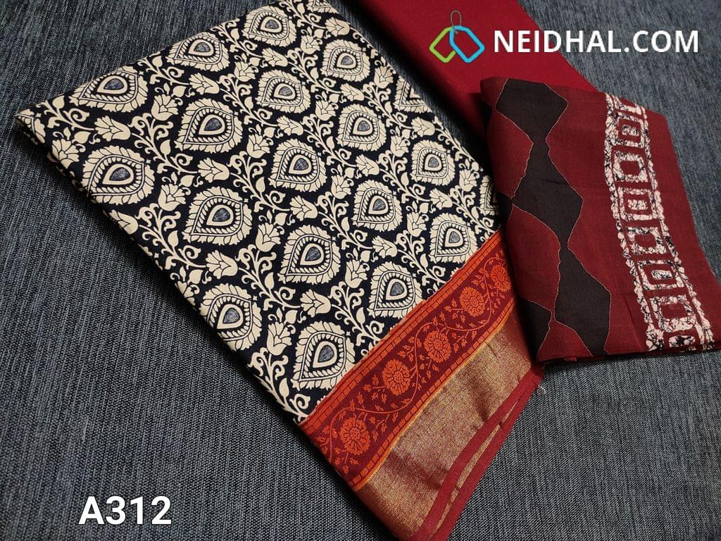 CODE A312 : Block Printed Black Cotton Unstitched salwar material(there might be variations in print alignment, density due to manual work) , daman patch,  Red Cotton Bottom, Block printed (there might be variations in print alignment, density due to manual work) cotton dupatta.(requires taping)
