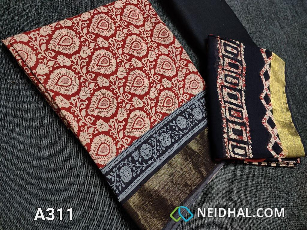 CODE A311 : Block Printed Red Cotton Unstitched salwar material(there might be variations in print alignment, density due to manual work) , daman patch,  Black Cotton Bottom, Block printed (there might be variations in print alignment, density due to manual work) cotton dupatta.(requires taping)