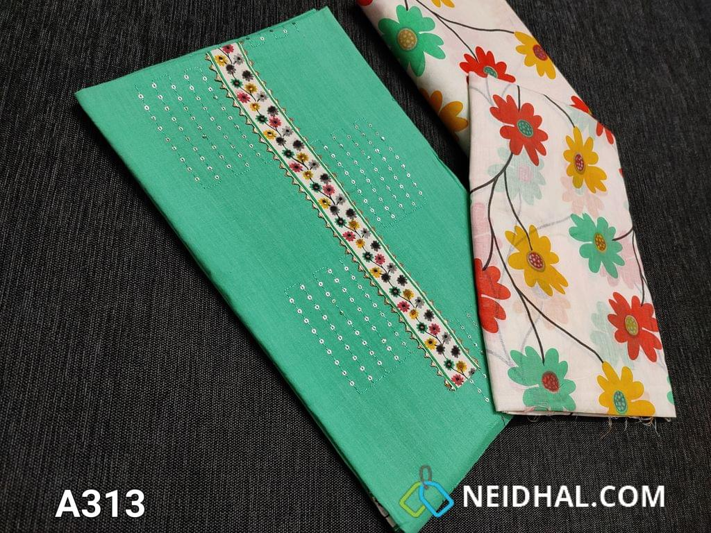 CODE A313   : Turquoise Green Soft Cotton Unstitched Salwar material(requires lining) printed yoke and lace taping, Sequins work and thread work on front side, daman patch, Floral printed soft cotton bottom, Floral printed mul cotton dupatta(taping needs to be stitched)