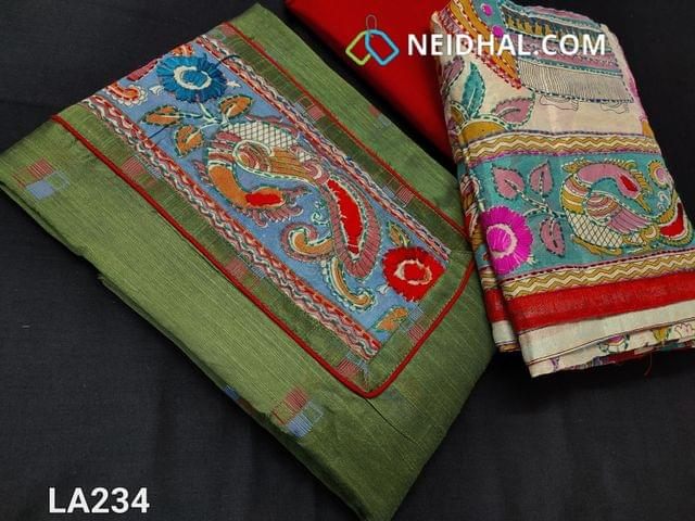 CODE LA234 : Designer Green Dupion Silk Cotton unstitched salwar material(requires lining) with thread patch work on yoke, daman patch, red cotton bottom, kantha work on kalamkari printed silk cotton dupatta with tapings (colour of embroidery and print might vary)