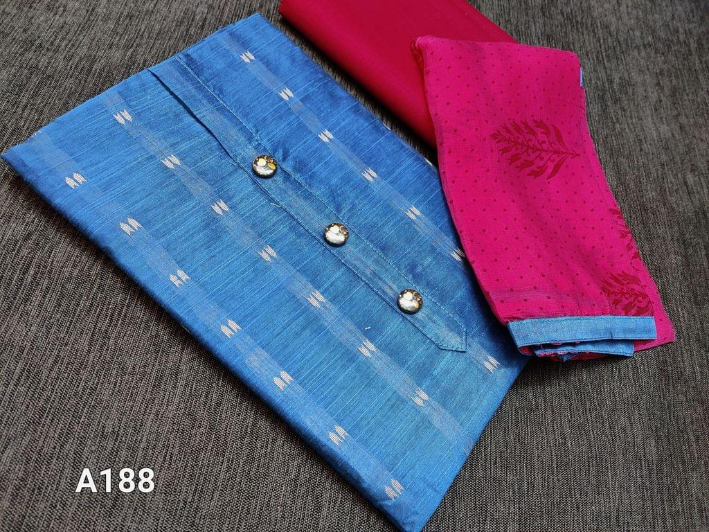 CODE A188 : Blue silk cotton unstitched Salwar material(requires lining) with woven patterns, Pink cotton bottom, printed Pink chiffon dupatta with taping(Dupatta prints might vary)