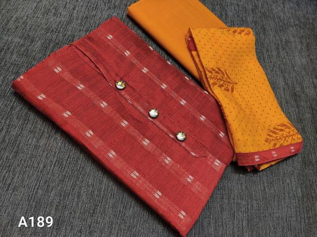 CODE A189 : Dark Maroon silk cotton unstitched Salwar material(requires lining) with woven patterns, Yellow cotton bottom, printed Yellow chiffon dupatta with taping(Dupatta prints might vary)