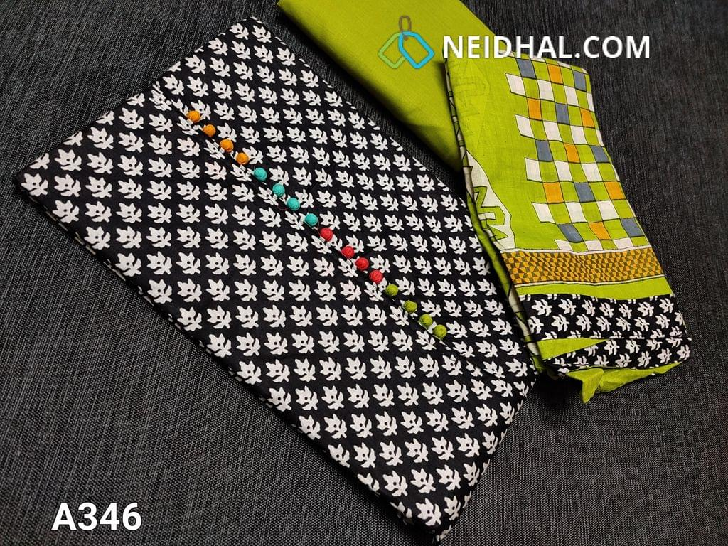 CODE A346 : Printed Black Soft Cotton Unstitched Salwar material(requires lining) with colorful potli buttons on yoke, Daman patch, Green cotton bottom, printed mul cotton dupatta with tapings