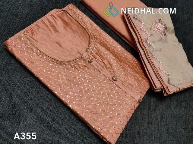 CODE A355: Designer Peach Soft Silk Cotton unstitched Salwar material(thin fabric requires lining) round neck, Heavy thread and Sequins work on front side, piping done on daman, Plain back, Cotton bottom, Short width organza dupatta with embroidery work and taping
