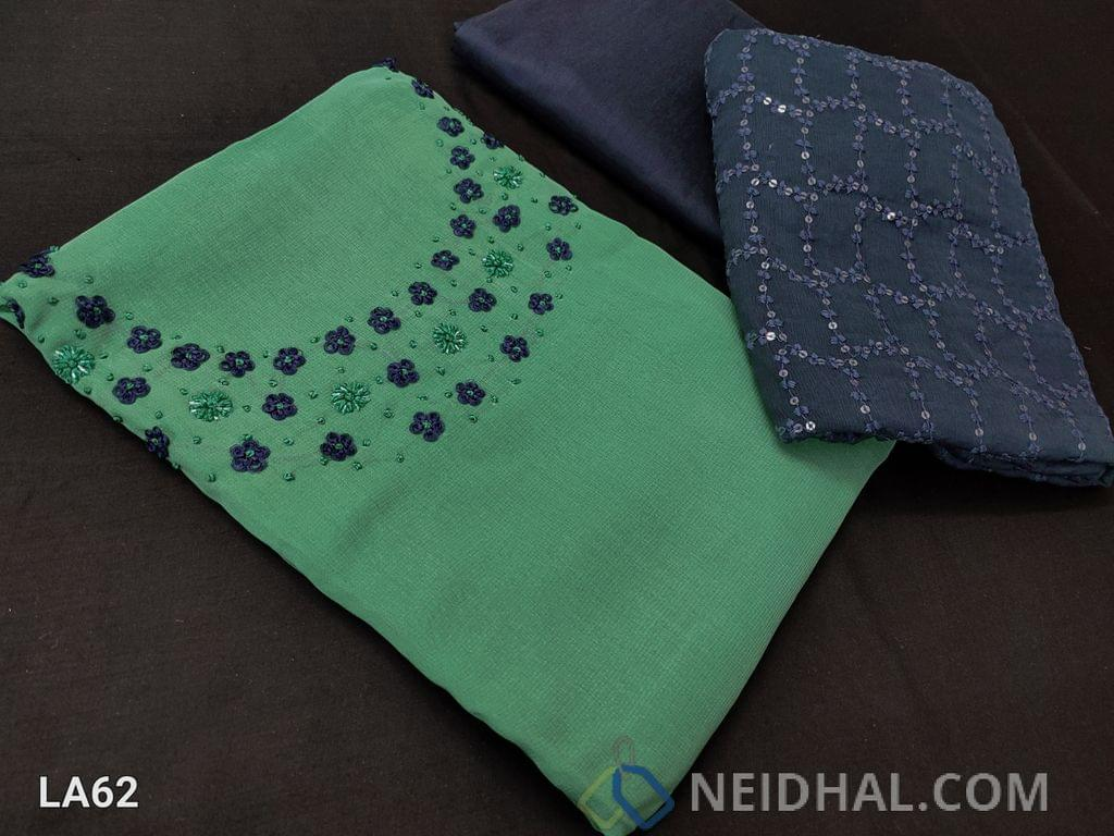 CODE LA62 : Designer Sea Green Georgette Unstitched salwar material(requires lining) with french knot and bead work on yoke, blue silk cotton botttom, heavy embroidery and sequence work on chiffon dupatta with lace tapings,