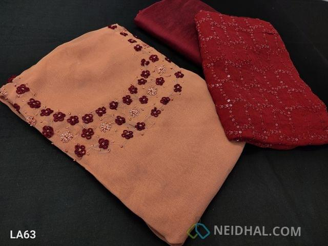 CODE LA63 : Designer Dark Peah Georgette Unstitched salwar material(requires lining) with french knot and bead work on yoke, maroon silk cotton botttom, heavy embroidery and sequence work on chiffon dupatta with lace tapings,