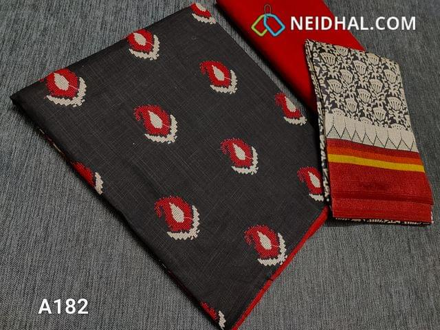 CODE A182 : Black Slub Cotton unstitched Salwar material(requires lining) with cross stitch work done on front side, red cotton bottom, Printed Art silk dupatta (taping needs to be stitched)