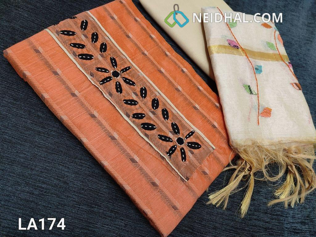 CODE LA174 : Thread Woven Orange Silk Cotton  unstitched salwar material(requires lining) with Applique work on yoke, light beige cotton bottom, Colorful Applique work on fancy silk cotton dupatta(tapings has to be stitched)