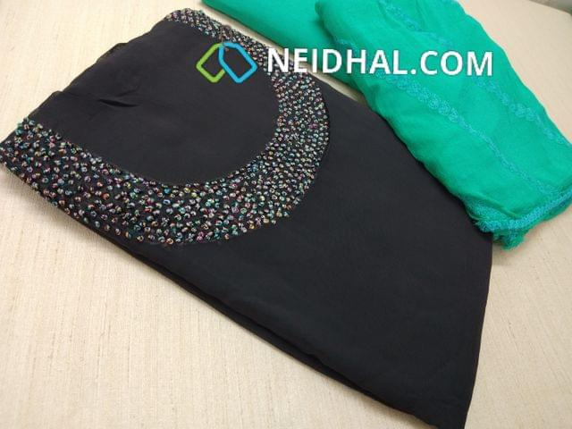 Designer Grey Georgette unsitched salwar material(requires lining) with Heavy french knot work on yoke, daman taping, Sea Green Silk cotton bottom, Heavy thread and sequins work on Pink Chiffon duaptta with laces.