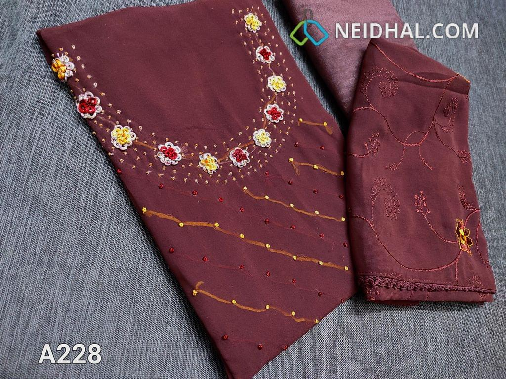 CODE A228 : Designer Brownish Maroon Georgette unstitched Salwar material(Shiny fancy silk cotton lining included) with French knot work, bead work, thread work on yoke, shiny fancy silk cotton bottom, Embroidery work on chiffon dupatta with lace tapings