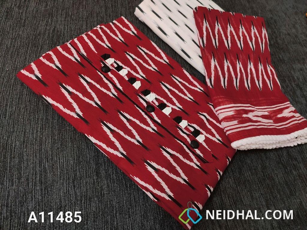 CODE A11485 : Ikkat Printed Red Soft Cotton unstitched salwar material(requires lining) with yoke patch,(YOKE PATCH DESIGN MIGHT VARY) printed cotton bottom, printed mul cotton dupatta with pom pom tapings