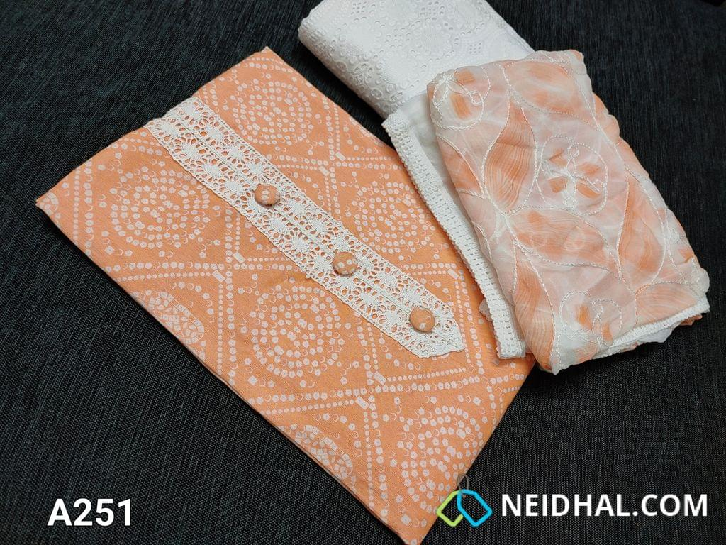 CODE A251 : Bandhani Printed Peach Modal Fabric(Superior quality of Rayon Flowy fabric) with lace yoke patch work, Lace taping on Daman, Cut work on embroidery work Half white cotton bottom, Soft chiffon dupatta with embroidery and Hand brush paint work done with lace taping