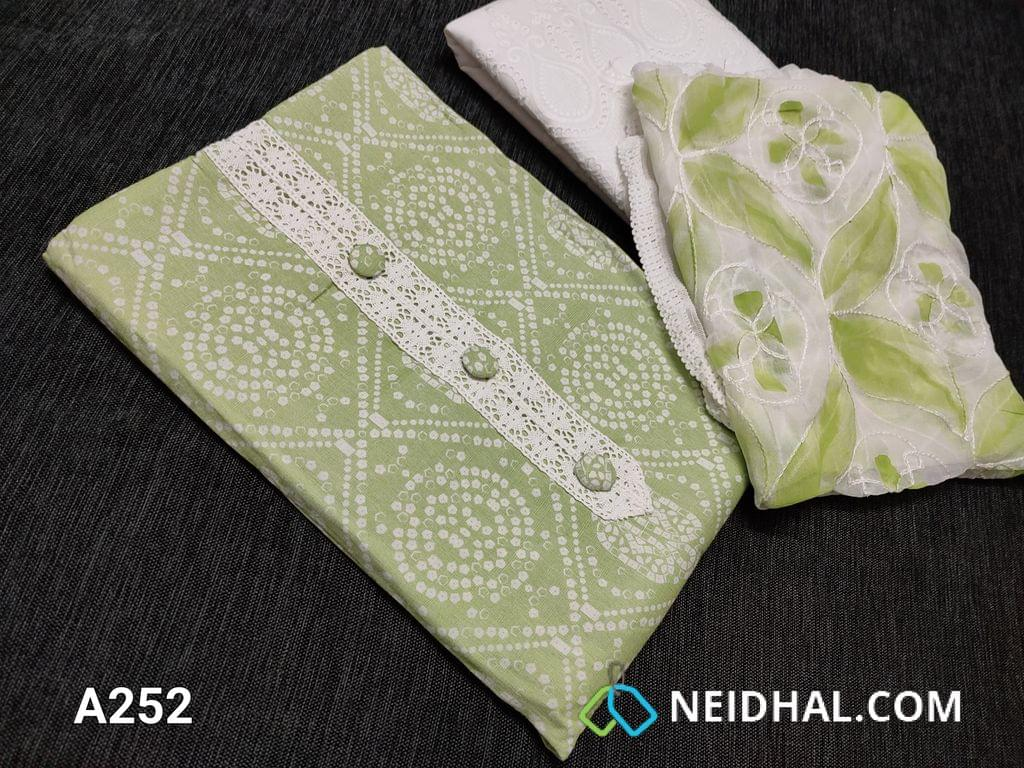 CODE A252 : Bandhani Printed Green Modal Fabric(Superior quality of Rayon Flowy fabric) with lace yoke patch work, Lace taping on Daman, Cut work on embroidery work Half white cotton bottom, Soft chiffon dupatta with embroidery and Hand brush paint work done with lace taping