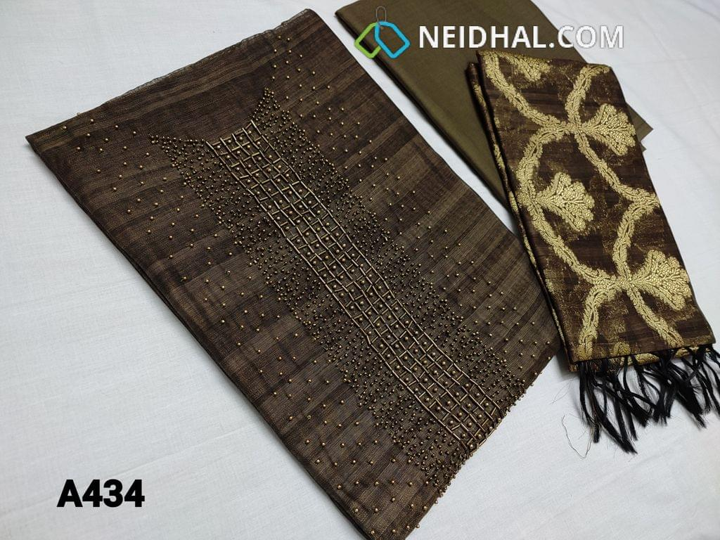 CODE A434 : Designer  Brown Slub Silk Cotton unstitched Salwar material(requires lining) with bead and cut bead work done on yoke,  Brown cotton/silk cotton bottom , Benarasi weaving silk Cotton dupatta with tassels ( DUPATTA WEAVING DESIGN MAY BE DIFFERENT FROM WHATS SHOWN IN PICTURE)