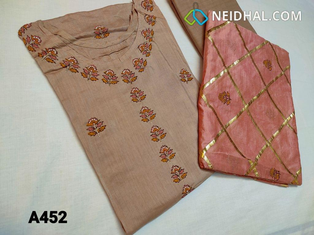 CODE A452 : Designer Light Brown Masleen silk (thin fabric requires lining) semi stitched Salwar material, with round neck, Block print and small bead work done on yoke and front side, heavy work on daman, Soft fabric provided can be used as lining, Silk dupatta with block prints and zari thread weaving on the entire dupatta