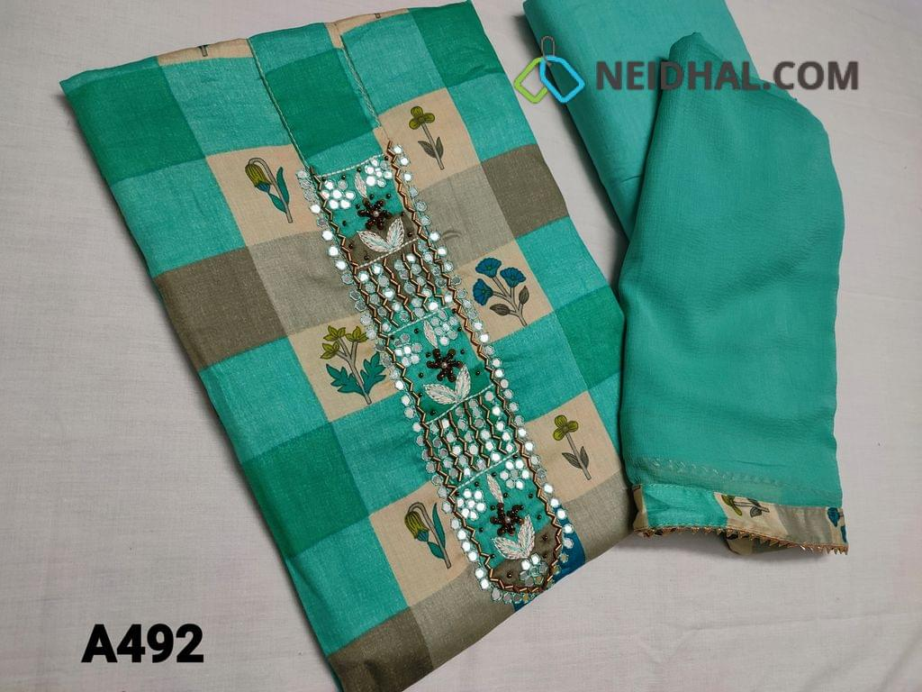 CODE A492 : Printed Turquoise Green Satin Cotton unstitched Salwar material with Faux mirror work and sequins work on yoke, Light turquoise thin fabric can be used as lining and if you comfortable then can use this as Bottom, Plain Chiffon dupatta with lace work.
