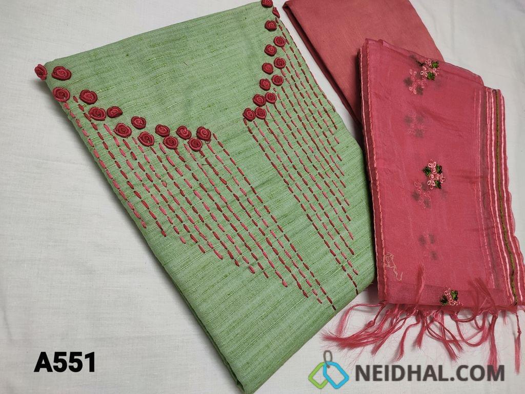 CODE A551 : Designer Green Silk Cotton unstitched Salwar material with Bullion rose work and thread work on yoke, Self textured fabric, Pink Silk Cotton bottom, Organza dupatta with all over thread work