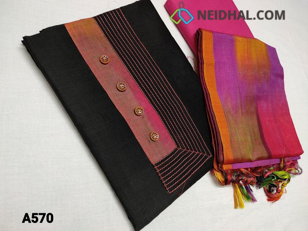 CODE A570 : Black Silk Cotton unstitched Salwar material(thin fabric Requires lining) with Yoke patch work with thread detailing. daman piping, Thin Pink cotton bottom, multicolor soft tabby dupatta (TAPING NEEDS TO BE STITCHED)