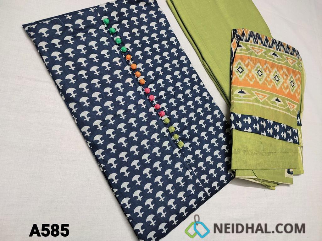 CODE A585 : Printed Blue Soft Cotton Unstitched Salwar material(requires lining) with colorful potli buttons on yoke, Daman patch, Green thin cotton bottom, printed mul cotton dupatta with tapings