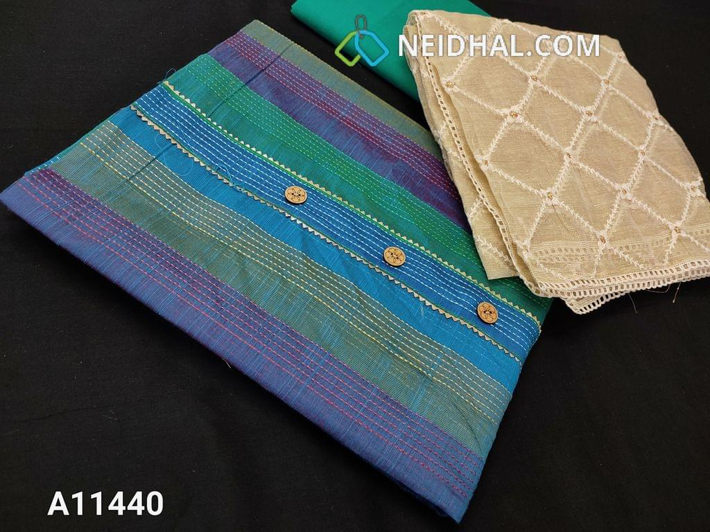 CODE : A11440 : Blue Silk Cotton unstitched salwar material(requires lining) with placket, Green cotton bottom, Beige kora silk cotton dupatta with taping