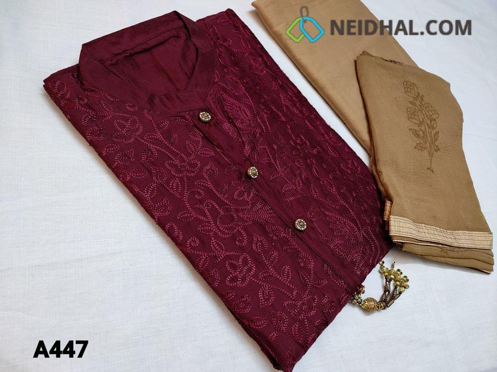 CODE A447 : Designer Dark Beetroot Purple Silk Cotton unstitched Salwar material(requires lining) with simple yoke and fancy buttons, fancy tassels, mandarin collar, Heavy thread embroidery work on front side, Plain back, daman patch, Beige Silk cotton bottom, Beige Chiffon dupatta with Block prints and taping