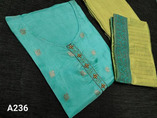 CODE A236 : Designer Light Aqua Green Dola Silk Unstitched Salwar material(requires lining) with sequins and french knot work on yoke, Beautiful Zari weaving on front side, Plain back, Yellow santoon bottom, Dola silk dupatta with zari lines all over and brocade border taping