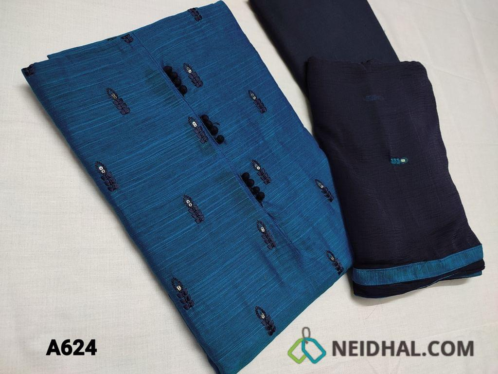 CODE A624 : Dark Blue Silk cotton unstitched Salwar material(requires lining) with potli buttons, thread and sequins work on front side, plain back, thin blue cotton bottom, thread and embroidery work on chiffon dupatta with taping
