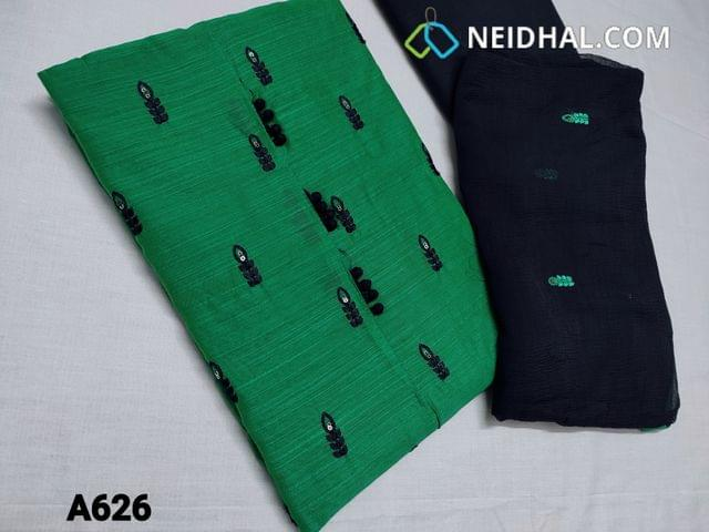 CODE A626 : Dark Green Silk cotton unstitched Salwar material(requires lining) with potli buttons, thread and sequins work on front side, plain back, thin blue cotton bottom, thread and embroidery work on chiffon dupatta with taping