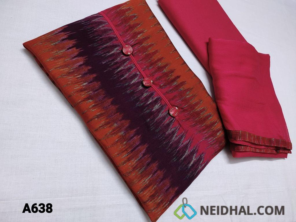 CODE 638 : Multicolor Viscous Silk unstitched Salwar material(soft and silky fabric) with fancy buttons on yoke, Pink Cotton bottom, Pink Chiffon dupatta with tapings