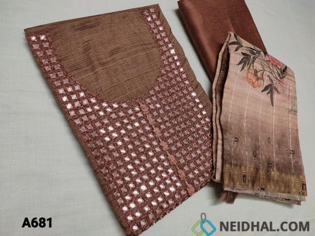CODE A681 : Designer Brown Soft Silk Cotton unstitched Salwar material(requires lining) with Real mirror and thread work on yoke, Light Chocolate brown Silk Cotton bottom, Fancy Digital printed Thin Silk Cotton Dupatta with sequins work