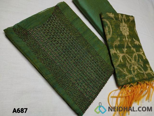 CODE A687 : Designer Green Slub Silk Cotton unstitched Salwar material(requires lining) with heavy bead and pipe work on yoke, Silk cotton bottom, Green Benarasi weaving dupatta with taping( DUPATTA WEAVING DESIGN AND SIZE MAY BE DIFFERENT FROM WHATS SHOWN IN PICTURE)