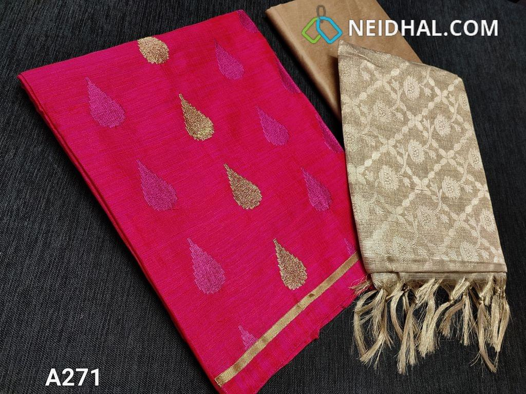 CODE A271 : Designer Vibrant Pink Raw Silk unstiched Salwar material(requries lining) with thread and zari embroidery work on front side, plain at back, Daman patch, Golden beige Silk cotton bottom, Heavy benaras weaving Silk cotton dupatta with tassels