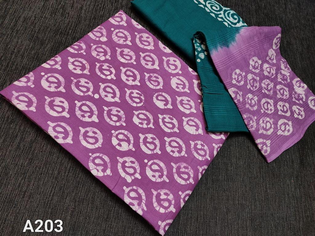 CODE A203 : Purple Batik dyed Soft Cotton unstitched Salwar material, Green cotton cotton bottom, batik dyed self woven soft cotton dupatta(taping needs to be stitched)
